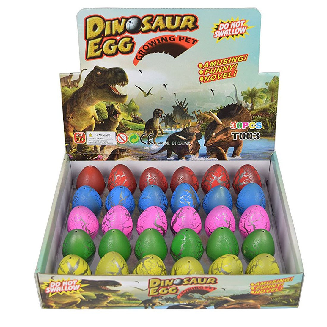 Yeelan Dino Dinosaurier-Dracheneier Schlüpfen Large Size Packung mit 12 Stück wachsenden Spielzeug, mischen Farben Yeedan048