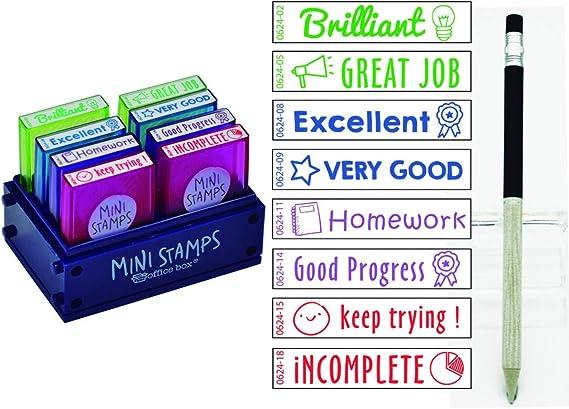Pack 8 Sellos Profesor Mini Stamps Motivación INGLES. Hasta 10.000 ...