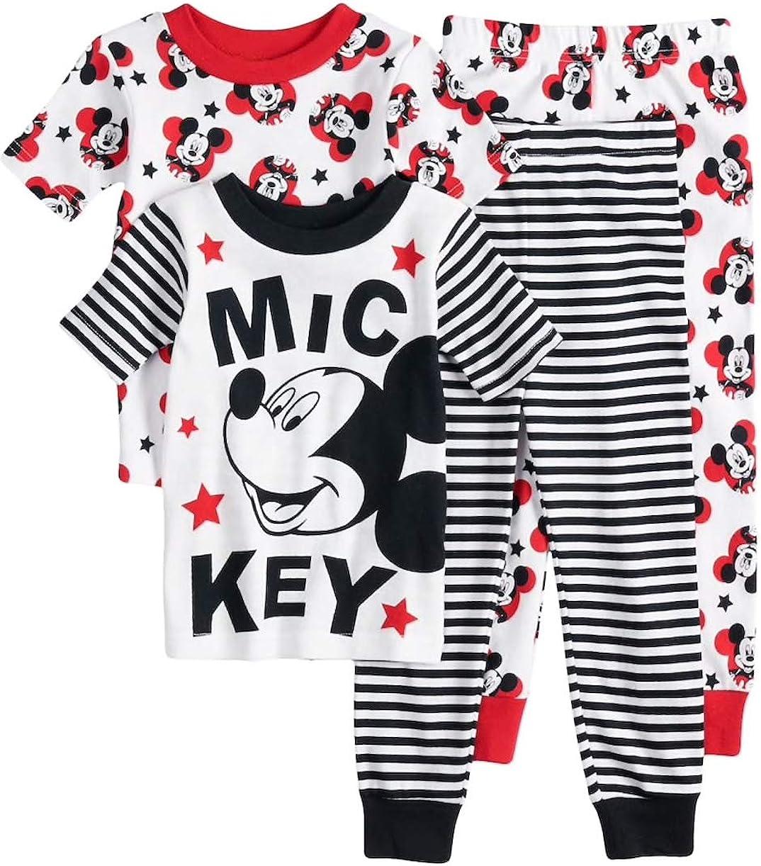 Disney/'s Classic Mickey Mouse Toddler Boy 4 Piece Pajama Set