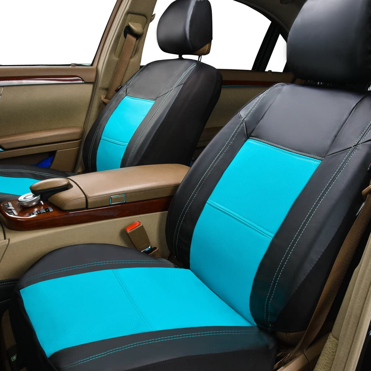 CAR PASS Skyline PU Leather CAR SEAT Covers 11PCS, Black with Black Universal FIT for Cars,SUV