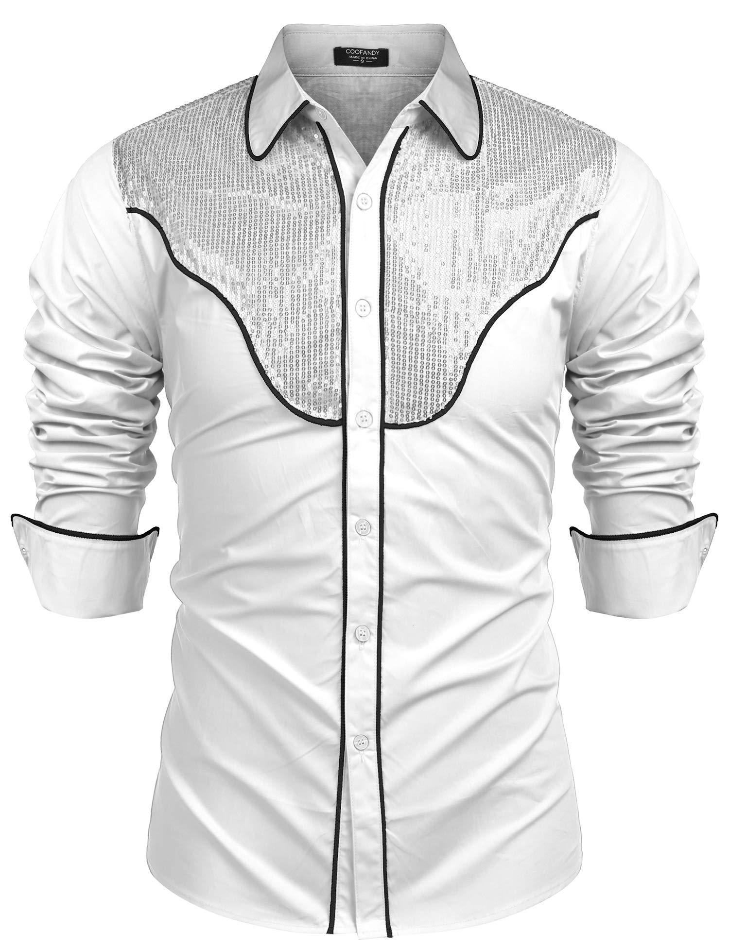 0e7510dc0e9 COOFANDY Men s Embroidered Button Down Shirt Cowboy Western Long Sleeve  Dress Shirts (White M)