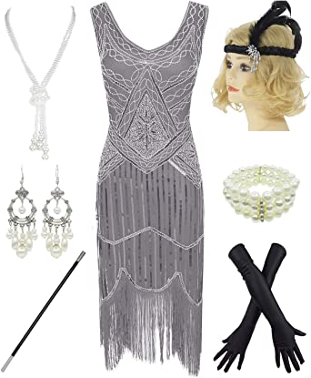 Womens 1920s Vintage Flapper Fringe Beaded Great Gatsby Party Dress w//Accessories Set