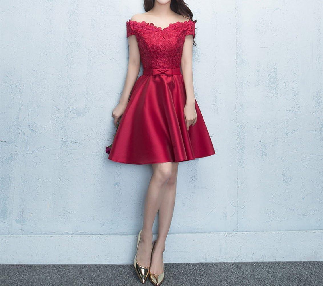 HDGFHD Vestido de Novia Rojo Corto párrafo Compromiso Puerta Trasera Vestido Falda