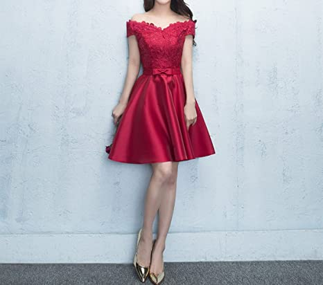 HDGFHD Vestido de Novia Rojo Corto párrafo Compromiso Puerta ...