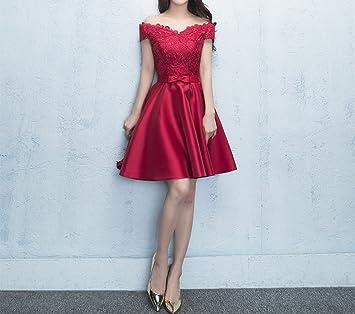 HDJJKSH Vestido de novia rojo corto párrafo compromiso puerta trasera vestido falda,rojo,XS