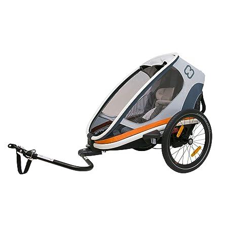 Hamax Outback Multi-Sport Child Bike Trailer Stroller Jogger One Seat, White Orange