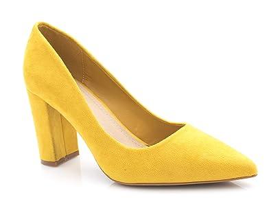 b9a39aad802ee4 Fashion Shoes – Chaussures Femme Haut Talon 10cm – Escarpin Talon Bloc en  Velours – Escarpin