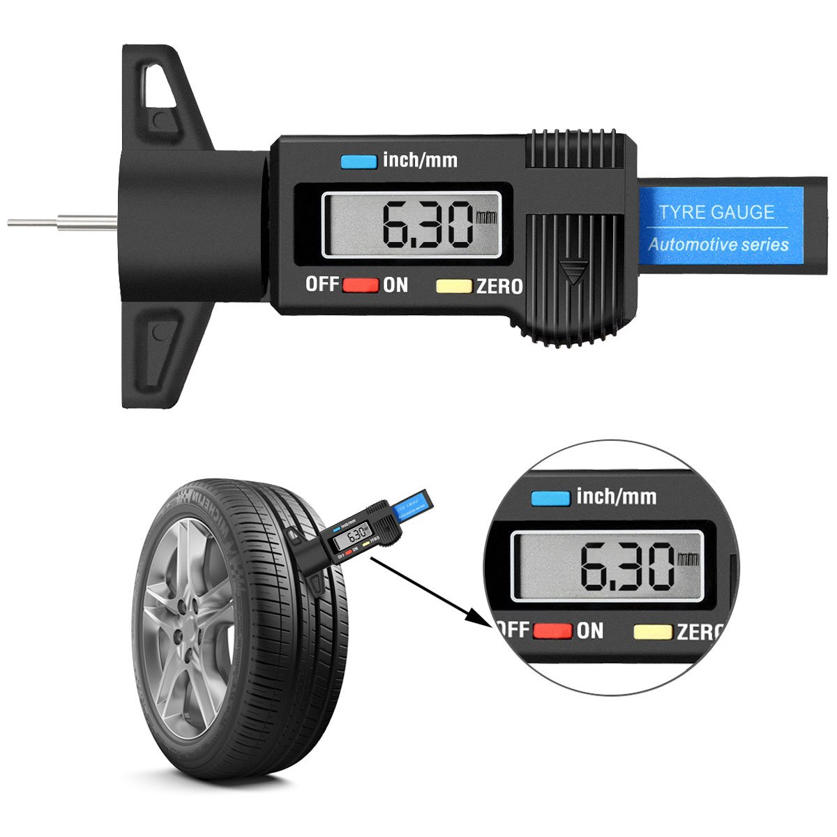 Audew Digital Tire Tread Depth Gauge - Digital Tire Gauge Meter Measurer LCD Display Tread Checker Tire Tester for Cars Trucks Vans SUV, Metric Inch Conversion 0-25.4mm