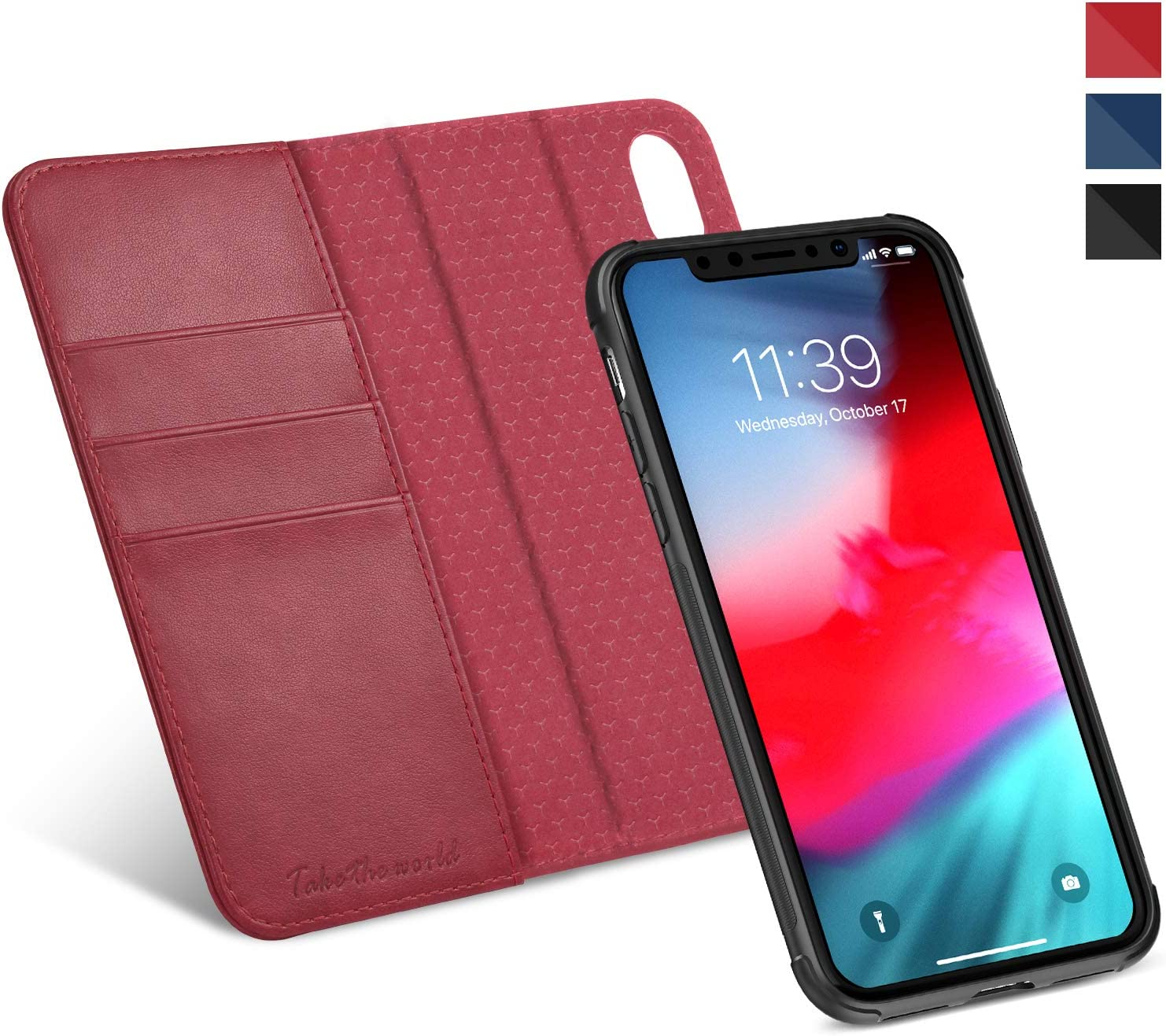 TUCCH iPhone XR Wallet Case, iPhone XR Detachable Case, [2 in 1] [RFID Blocking] PU Leather Flip Case with Card Slot, Stand Holder, [Magnetic Closure][Notebook]Compatible with iPhone XR 6.1 Inch, Red