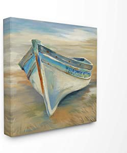 The Stupell Home Decor Painterly Blue Green and Rust Rowboat in the Grass Stretched Canvas Wall Art 24 x 24 Multi-Color