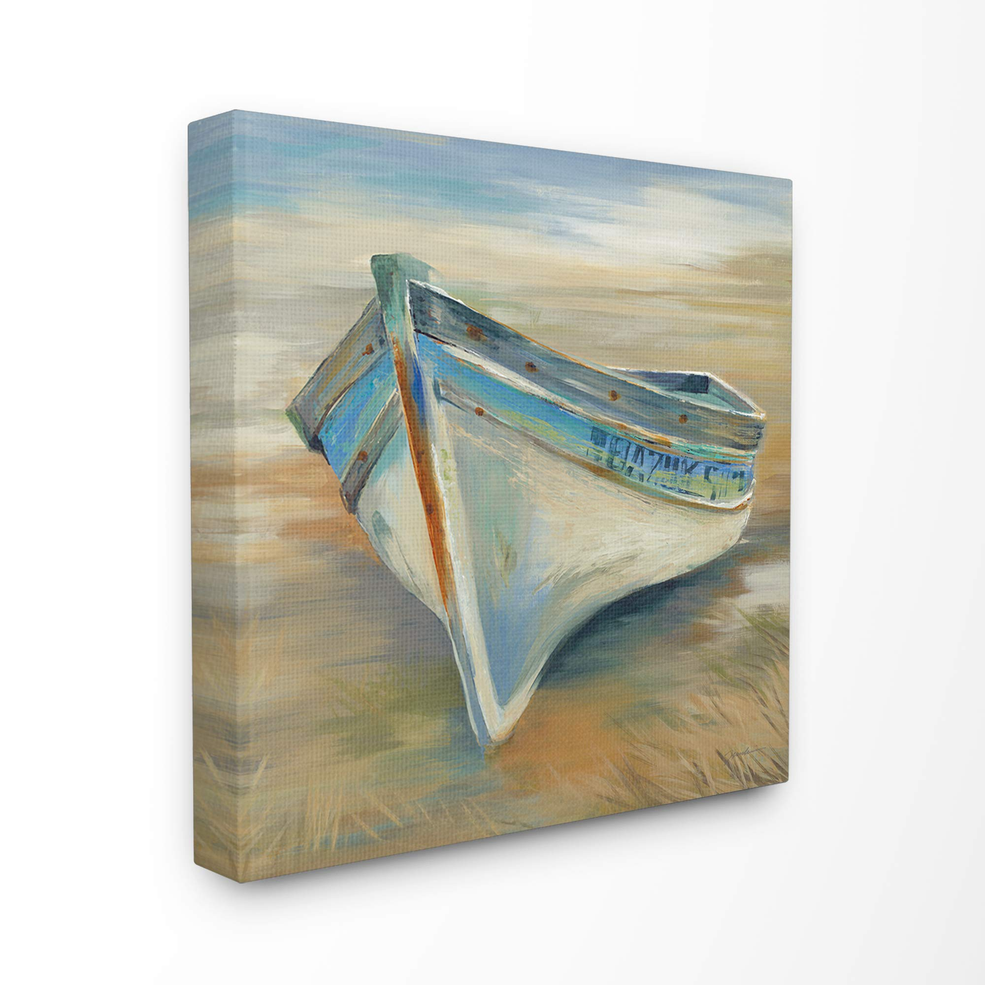 The Stupell Home Decor Painterly Blue Green and Rust Rowboat in The Grass Stretched Canvas Wall Art, 30 x 30, Multi-Color by Stupell Industries