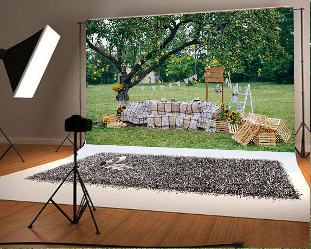 10x6.5 ft Outdoor Autumn Photo Backgrounds Straw Photography Backdrops for Photoshoot