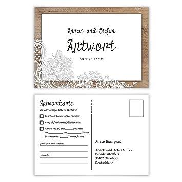 80 X Antwortkarte Hochzeit Hochzeitskarten Antwort Postkarte