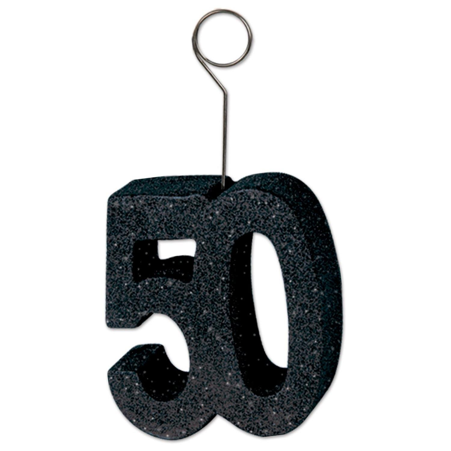 Pack of 6 Black Glittered ''50'' Photo and Balloon Holder Decorations 6 oz
