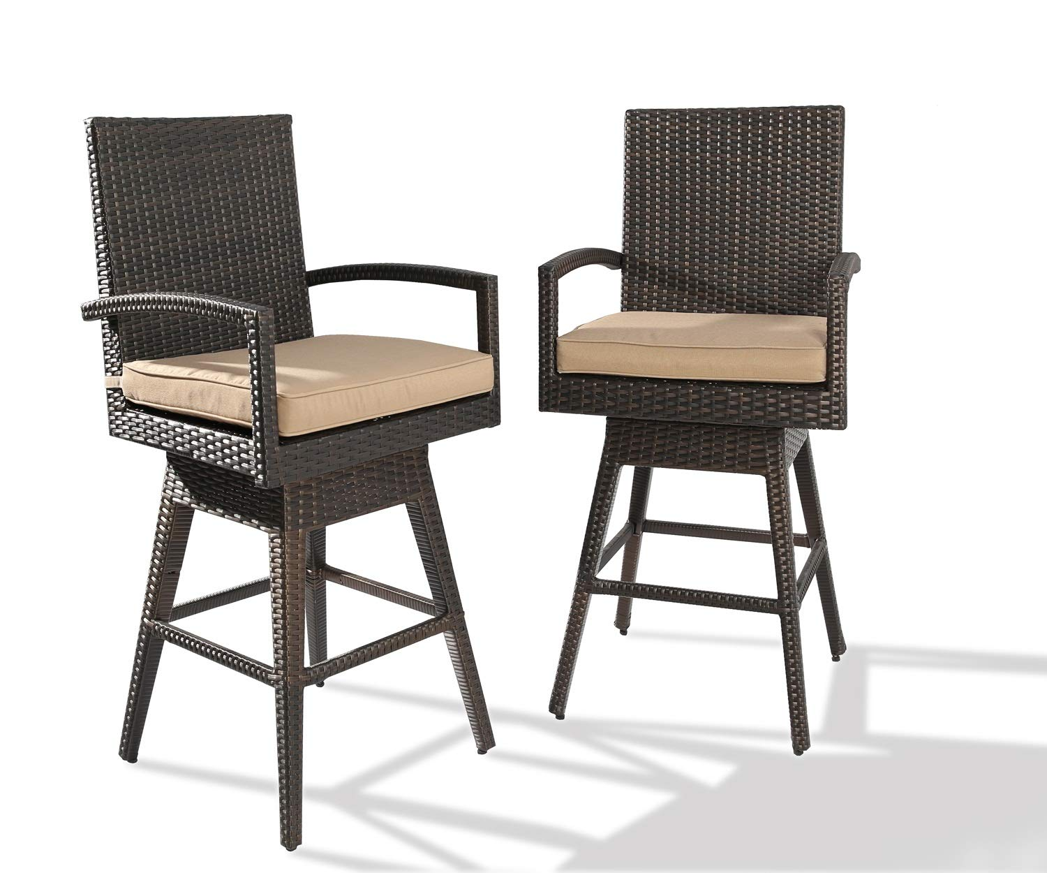 Ulax furniture 2Pack Outdoor Patio Furniture All-Weather Brown Wicker Swivel Bar Stool with Cushion by Ulax furniture