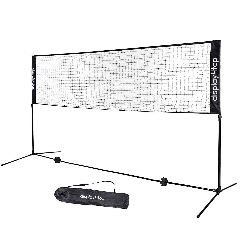 Display4top Filet de Tennis Badminton Pliable Facile à Monter Facile à Transporter Longueur 5m Hauteur réglable (107cm, 120cm, 155cm) nylon sports net avec la cour à l'intérieur ou à l'extérieur, plage, allée