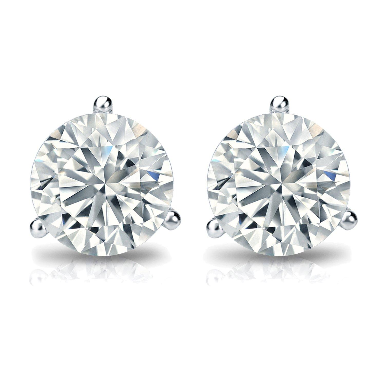 14k Gold Mens Round Diamond Simulant CZ Stud Earrings Bezel 1//4-2 cttw,Excellent Quality