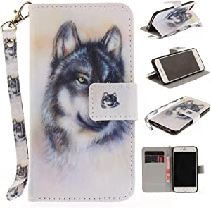 XYX Wallet Case for iPhone 5S,[Wolf][Wrist Strap] Premium PU Leather Wallet Case with Card Slots for iPhone 5S/iPhone SE 2016