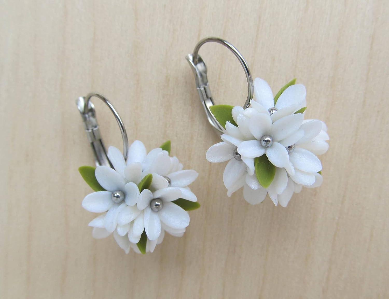 Handmade Pearl white flower dangle drop surgical steel earrings