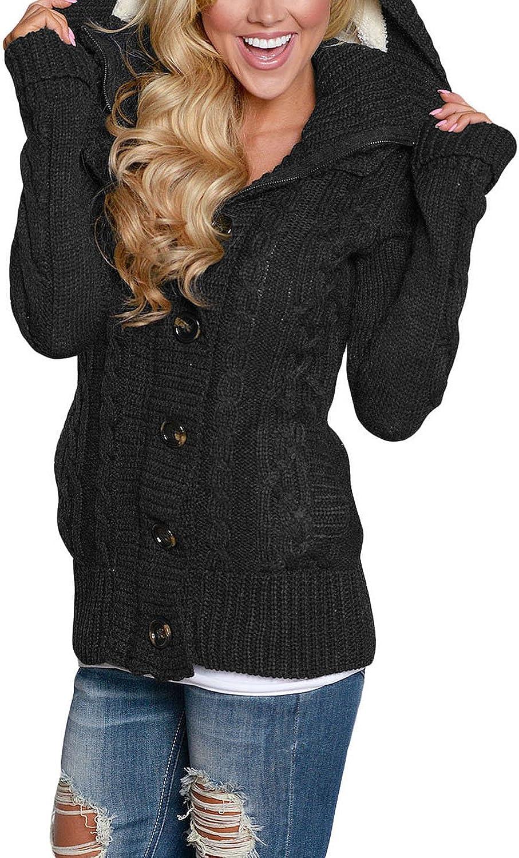 FIYOTE Chaqueta de punto de manga larga para mujer cuello en V color s/ólido bolsillo frontal y cierre de bot/ón