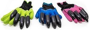 Easy Hands Garden Gloves - Clawed Gardening Gloves - 3 Pack