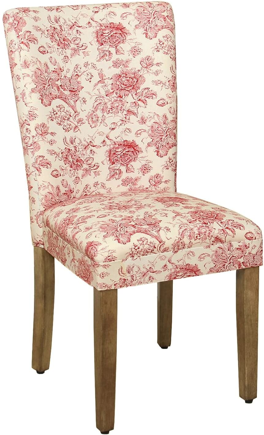 HomePop Parsons Classic Upholstered Accent Dining Chair, Single Pack, Red Toile