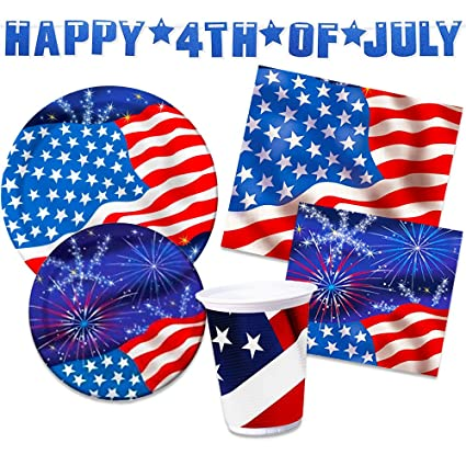 Christmas In July Party Supplies.4th Of July Party Supplies Decorations Set Over 50 Pieces Patriotic Plates Cups Napkins And Decorations American Flag Design