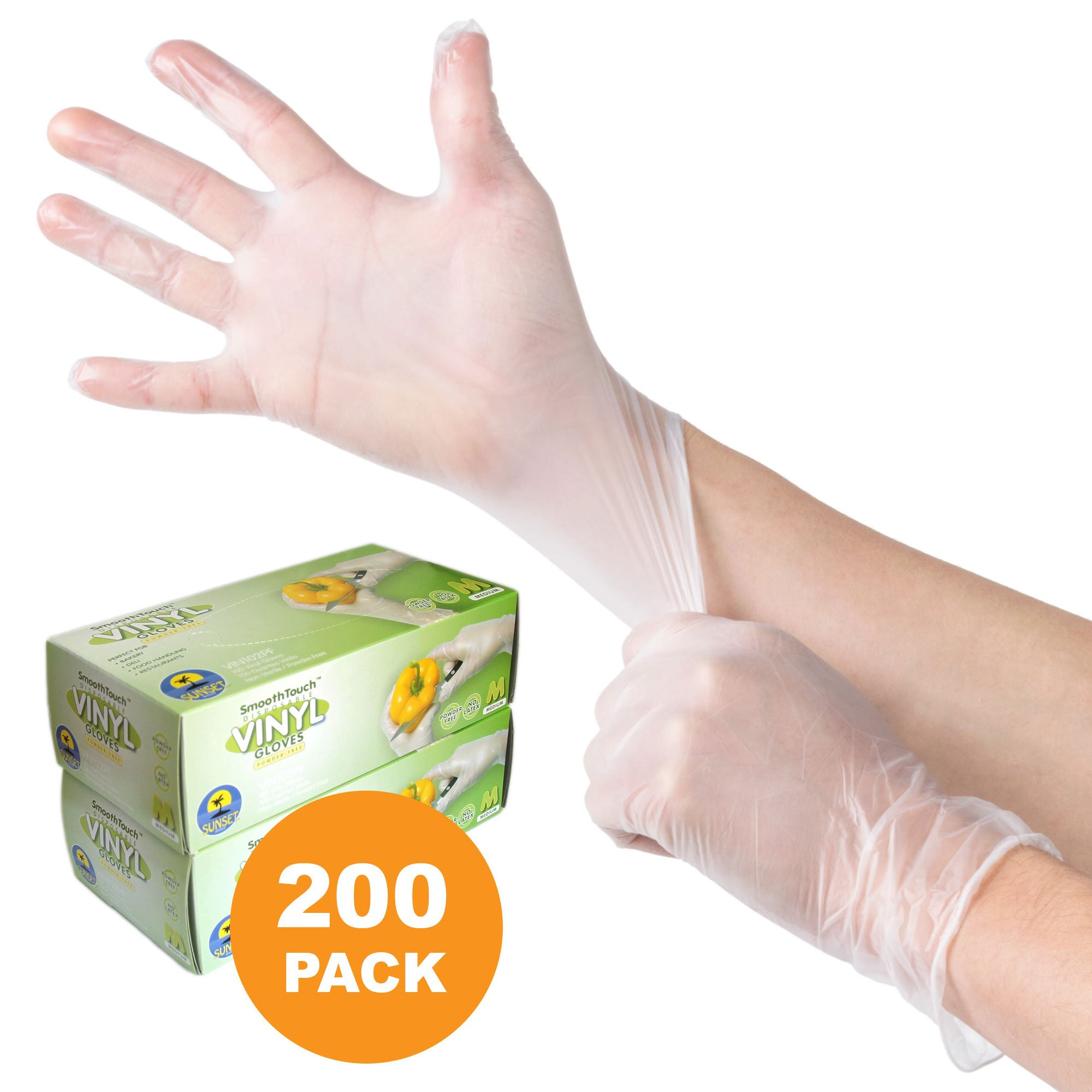 200 Powdered Disposable Vinyl Gloves, Non-Sterile, Easy Slip On/Off, Smooth Touch, Food Service Grade, X Large Size [2x100 Pack]