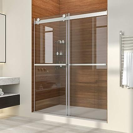 Sliding Walk In Shower Doors.Elegant Double Sliding Bypass Frameless Shower Door 60 Width Adjustment X 72 Heigh Upgrade 3 8 Clear Glass Shower Door Brushed Stainless