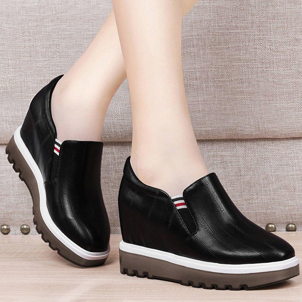 QIDI Freizeitschuhe Frau Gummi Steigung Modisch Rutschfest Einzelne Schuhe Schuhe Schuhe (Farbe   Schwarz größe   EU36 UK3.5) 77ccff