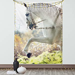 Ambesonne Farmhouse Tapestry, Country Big Horse with Mane Rears up Macro Animal Photo on a Blurry Background, Wall Hanging for Bedroom Living Room Dorm Decor, 40
