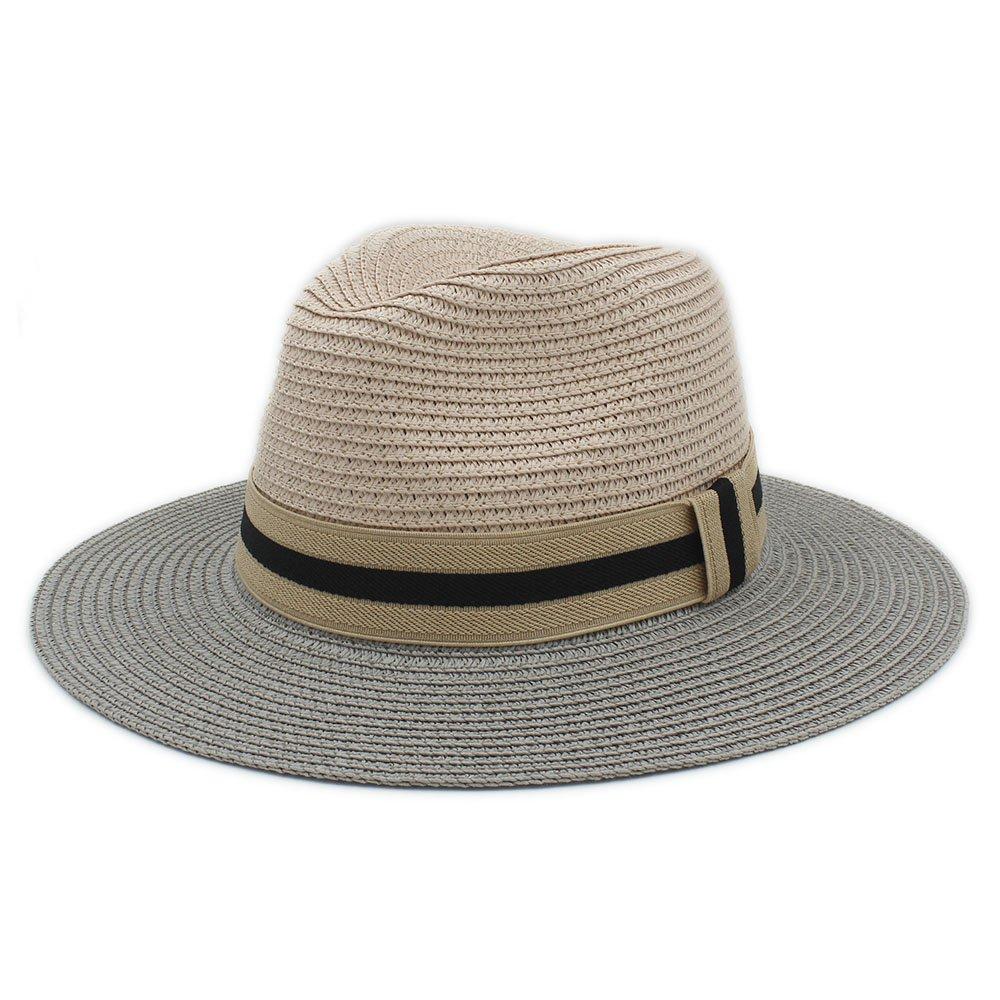 Women Cap Classic Women Men Summer Toquilla Straw Sun Hat Beach Sunhat Panama Cap Felt Hat Color : 1, Size : 56-58CM