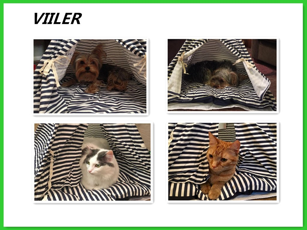 VIILER- Pet Supplies Washable Durable Navy Stripe Style Pet House Tent and Pet Bed with Strong Sticks and Comfortable Mat Set for Little Dogs and Cats (Blue Tent with Cushion)