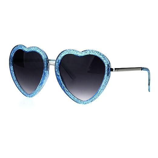 a0c7942666162 Glittery Heart Shape Sunglasses Sparkly Love Fashion Womens Shades UV 400  Blue
