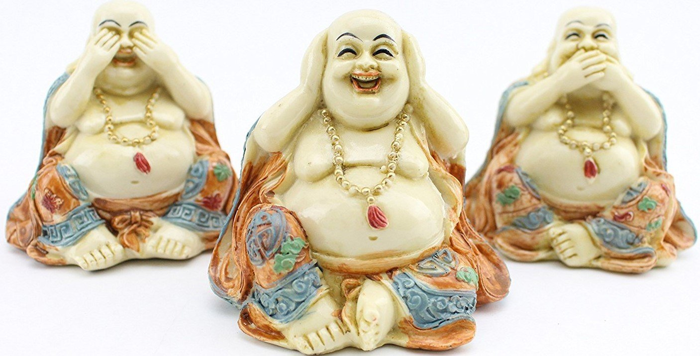 3 Feng Shui Hear See Speak No Evil Happy Face Laughing Buddha Figurine Home Decor Statue Gift / Birthday Gift / house warming gift We Pay Your Sales Tax. by We pay your sales tax