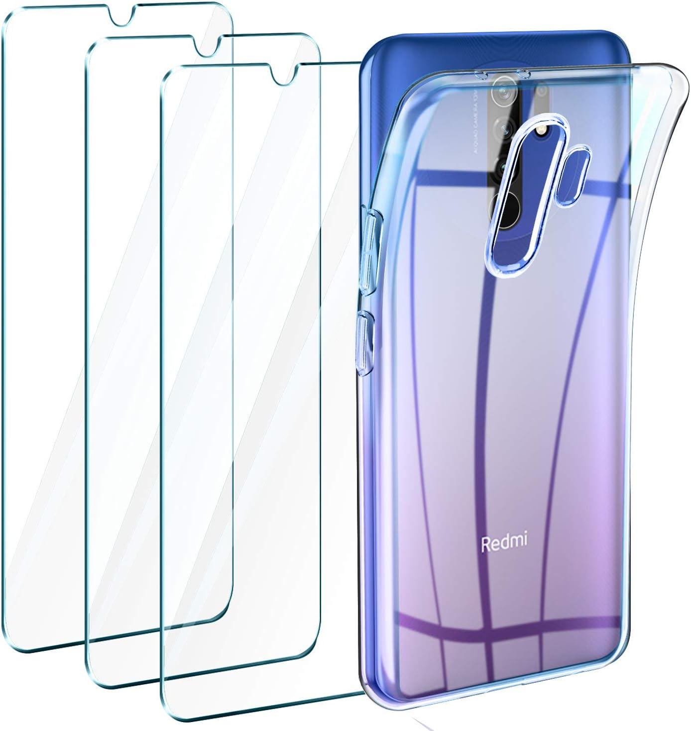 Leathlux Funda Xiaomi Redmi 9 + 3 x Protector de Pantalla Xiaomi Redmi 9, Transparente TPU Silicona Funda + Cristal Vidrio Templado Protector de Pantalla y Carcasa Xiaomi Redmi 9 6.6