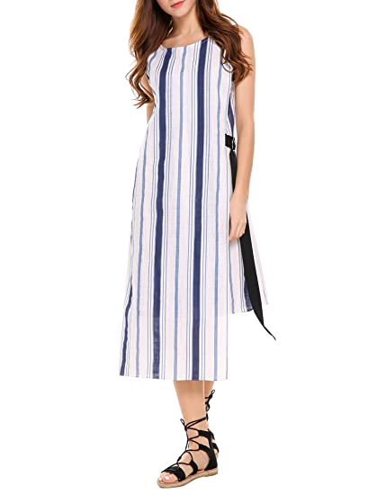 fcc8528261d36 Zeagoo Women s Sleeveless Colorblock Striped High-Low Asymmetric Casual  Dress Midi Belted Shift Dress(