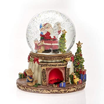 Amazon.de: Schneekugel Spieluhr Weihnachtsmann am Kamin, LED mit 8 ...