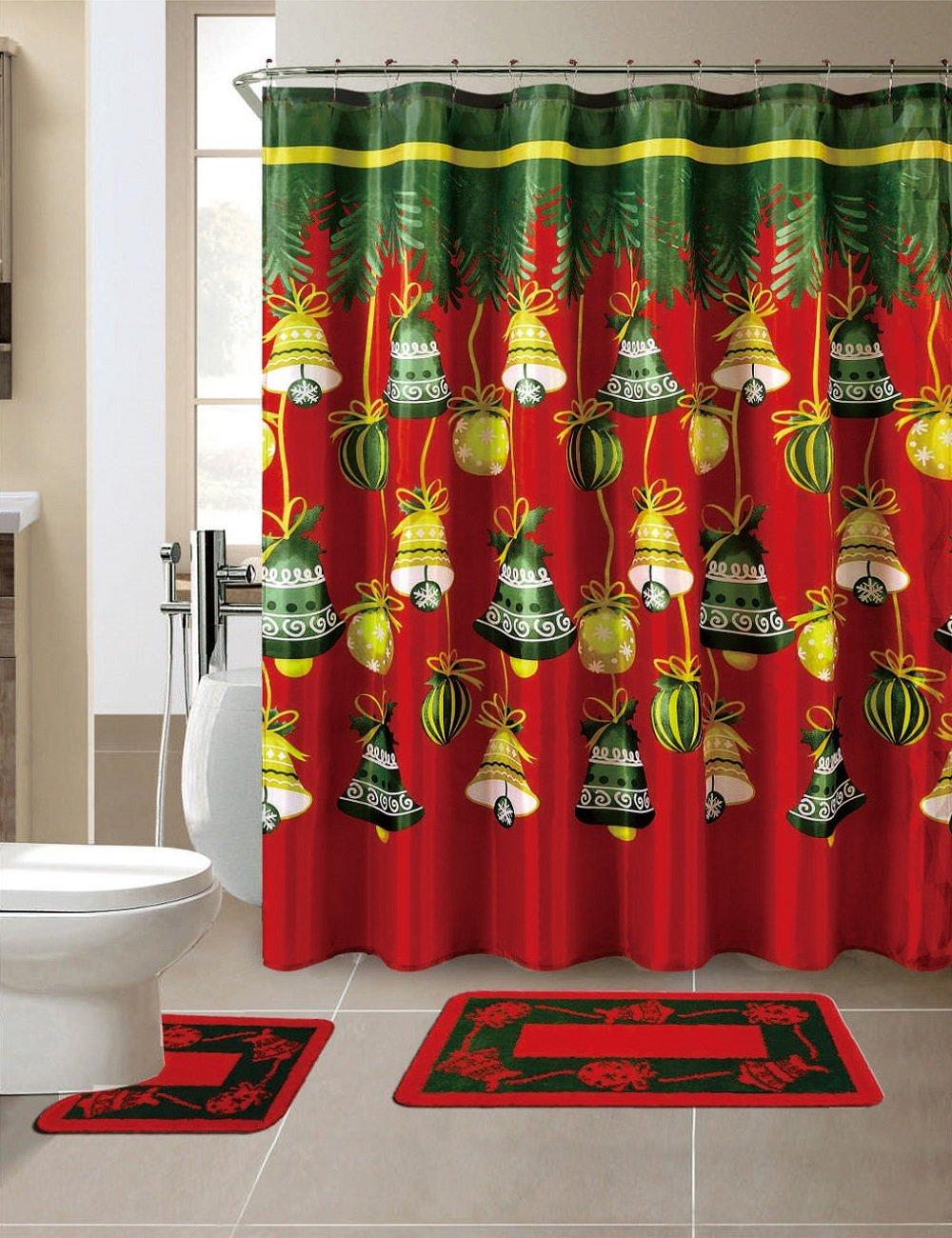 Amazon.com: Season\'s Greetings 15 Piece Shower Curtain Bath Set 1 ...