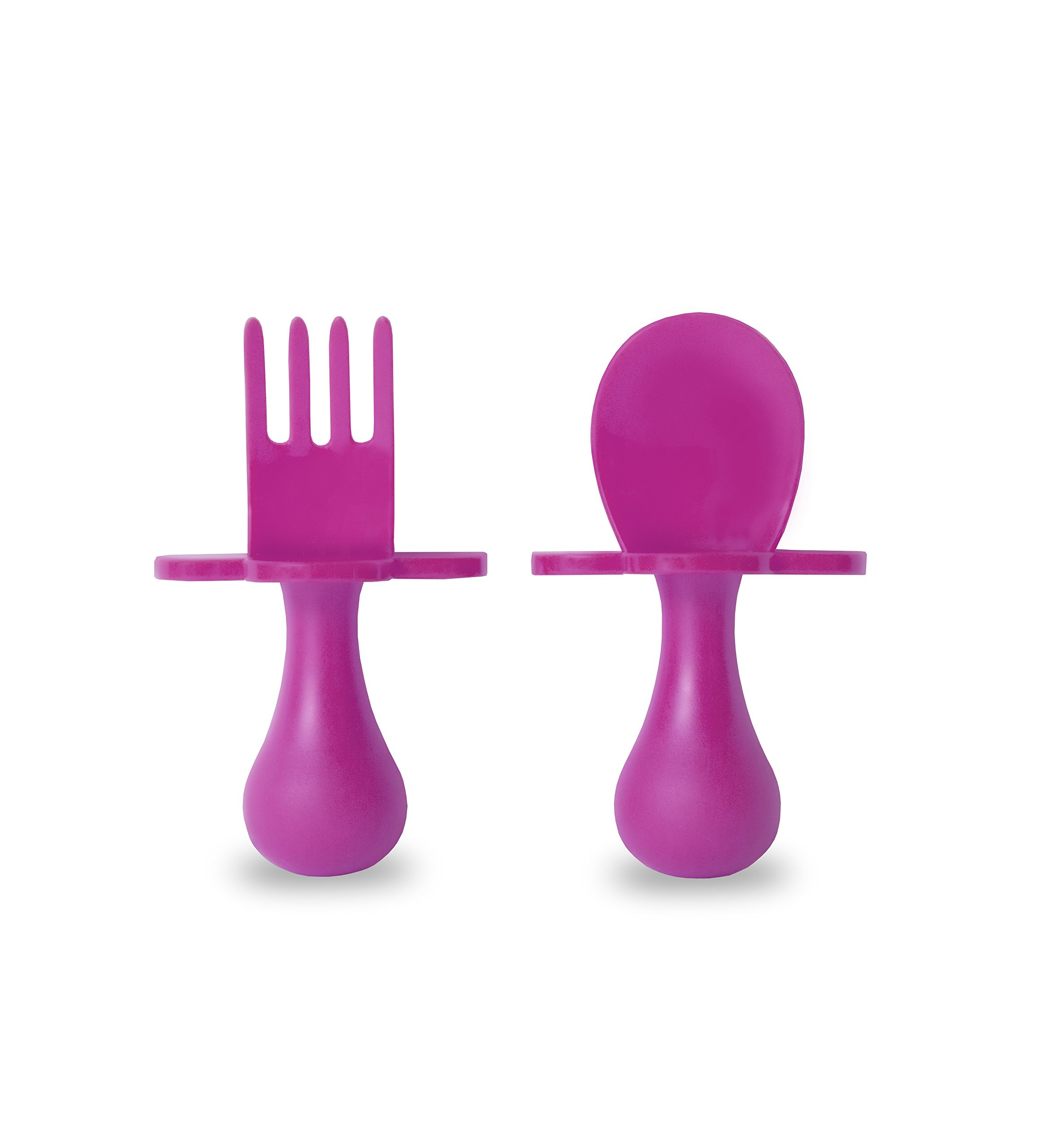 grabease (USA Made) First Self Feeding Utensil Set of Spoon and Fork for Toddler and Baby. BPA Free. to-go Pouch (Pink)