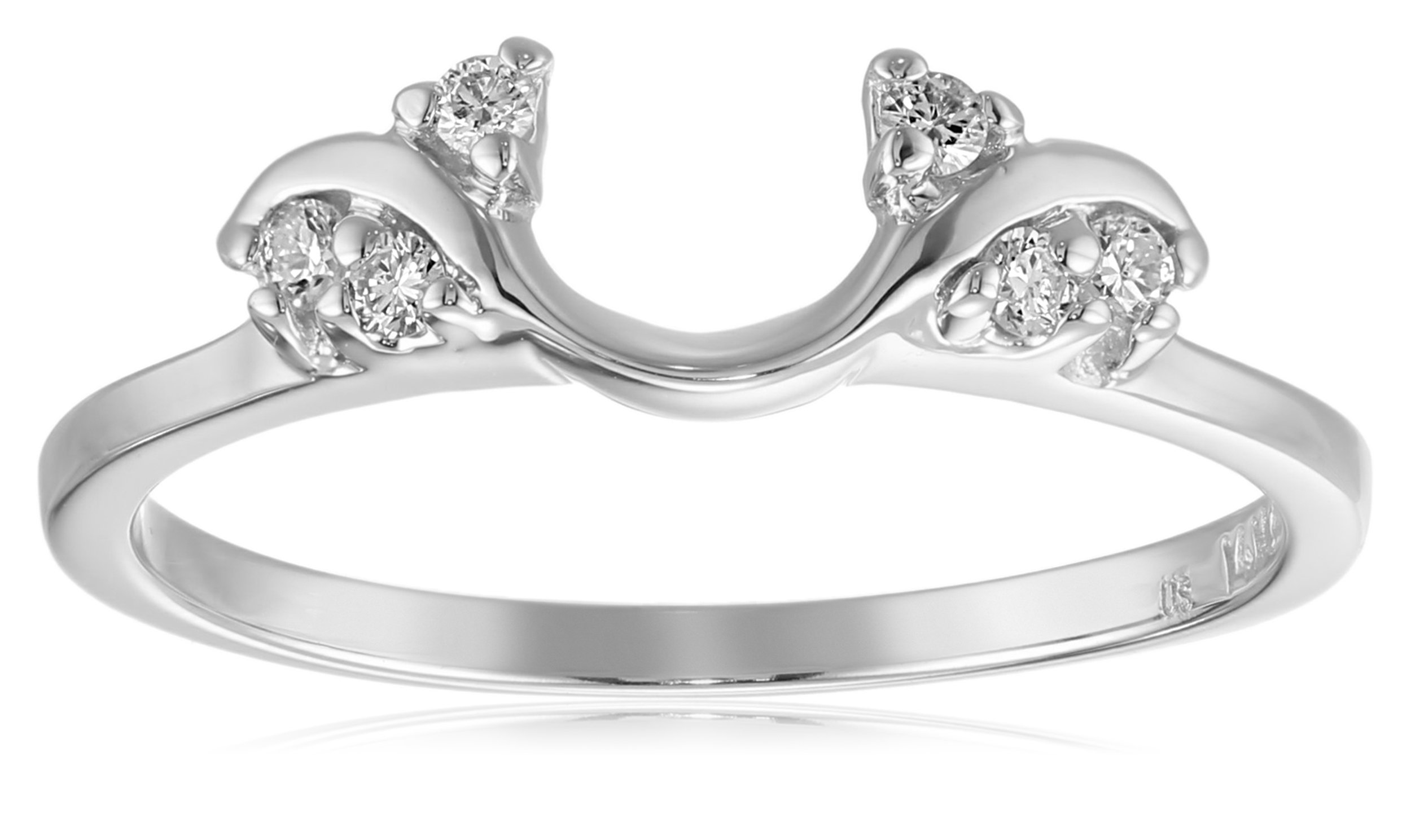 14k White Gold Round Diamond Solitaire Engagement Ring Enhancer (1/8 carat, H-I Color, I1-I2 Clarity), Size 7