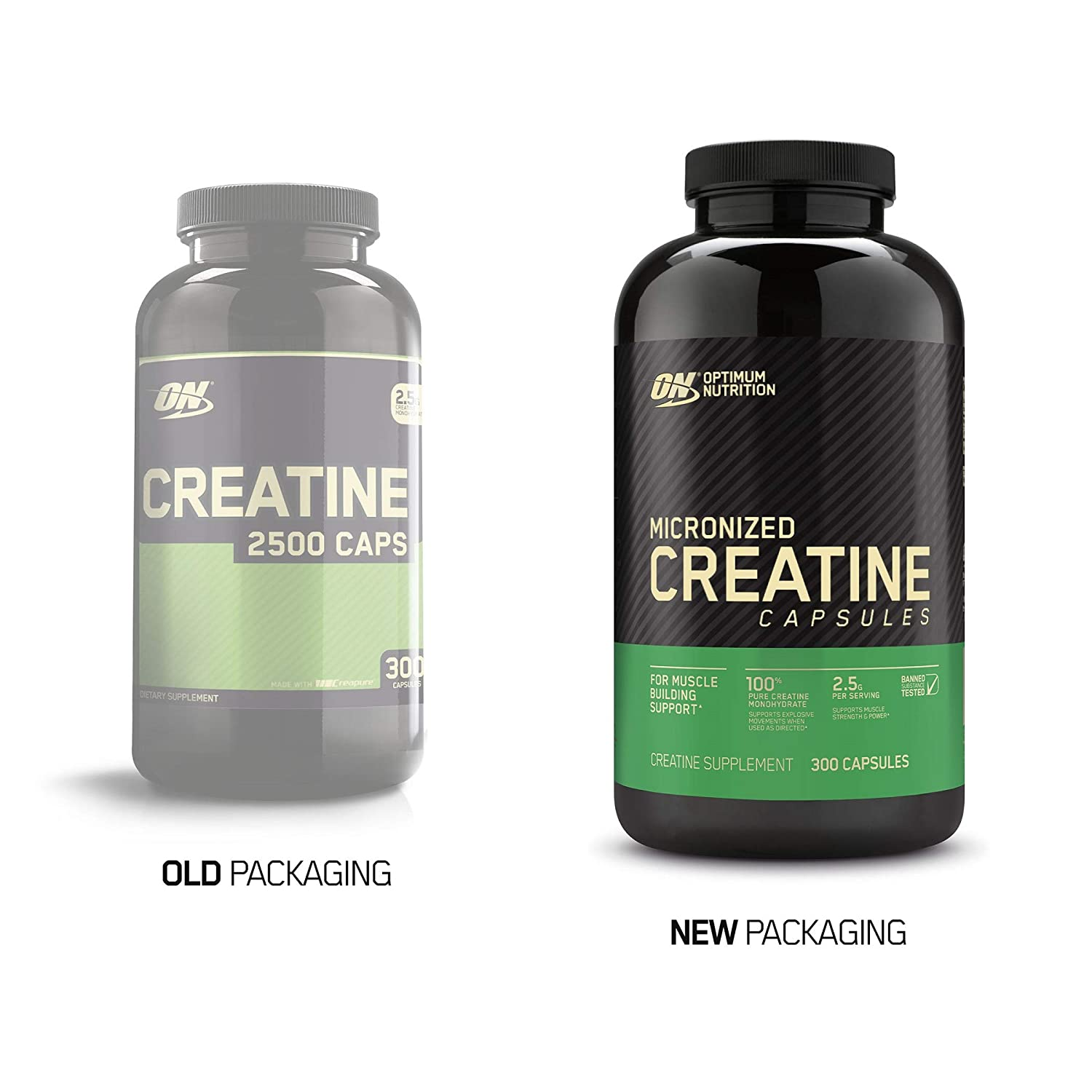 Optimum Nutrition Micronized Creatine Monohydrate Capsules, Keto Friendly, 2500mg, 300 Capsules Packaging May Vary