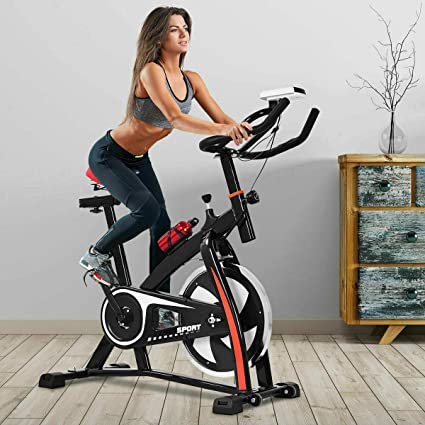 Caged Pedals LEPAK Upright Exercise Bike for Home,Indoor Cycling Stationary Bike with LCD Monitor Adjustable Seat Cushion /& Handlebar /& Base for Home Training Fitness Cardio Bike,Yellow
