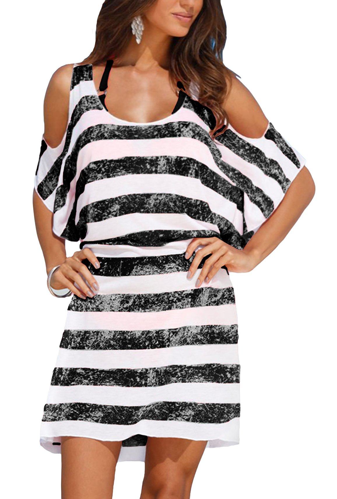 Upopby Women's Striped Loose Kaftan Bikini Swimsuit Beach Cover up Dress Black M