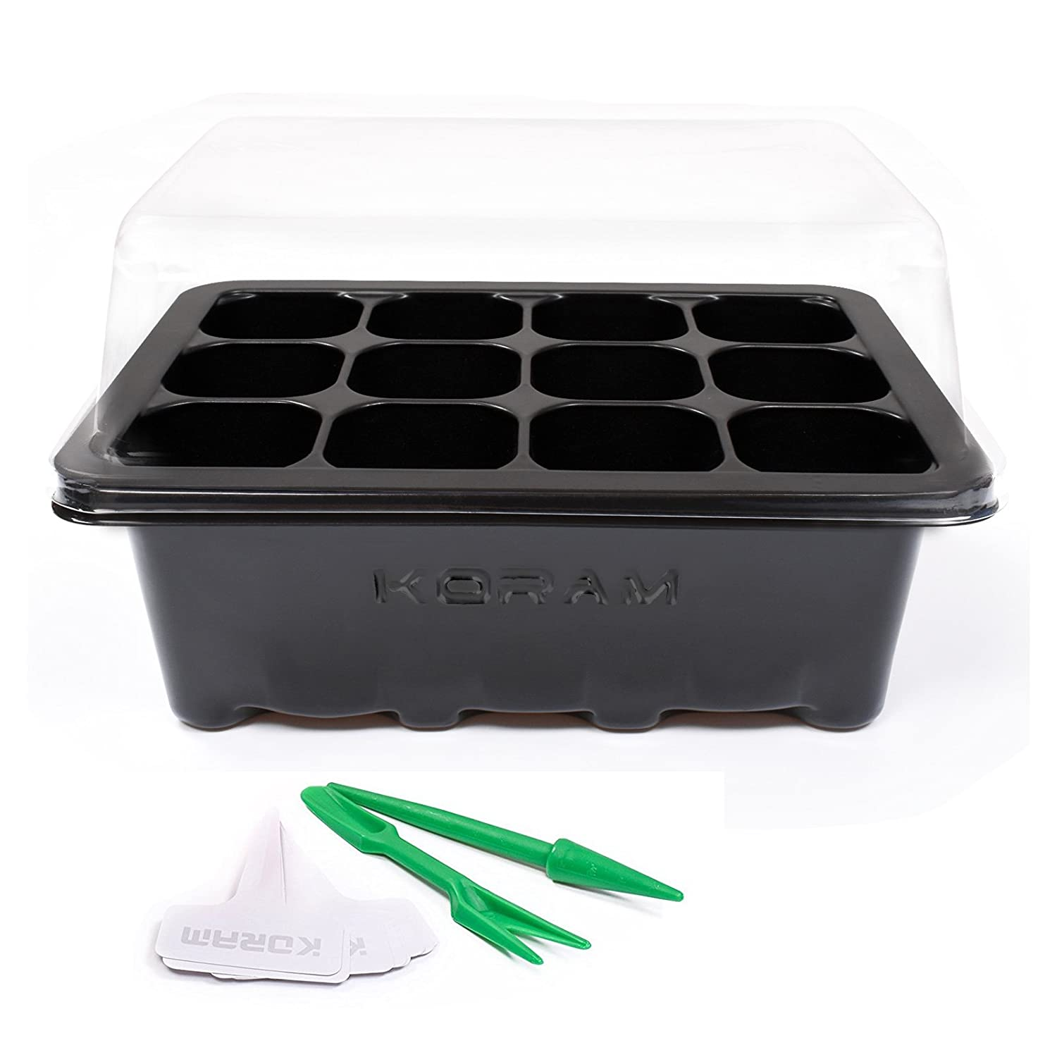Koram 10 Sets Seed Starter Tray 120 Cells Seed Tray Plant Germination Kit Garden Seed Starting Tray with Dome and Base Plus Plant Tags Hand Tool Kit, Black – Garden Gift Black - Garden Gift