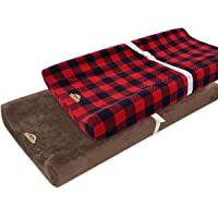 Ultra Soft and Contoured Plush Changing Pad Cover for Baby 2-Pack by BlueSnail (brown+red lattice)