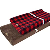 BlueSnail Plush Super Soft and Comfy Changing Pad Cover Change Table Cradle Bassinet Sheets with Straps for Baby 2-Pack (Brown+red Buffalo Palid)