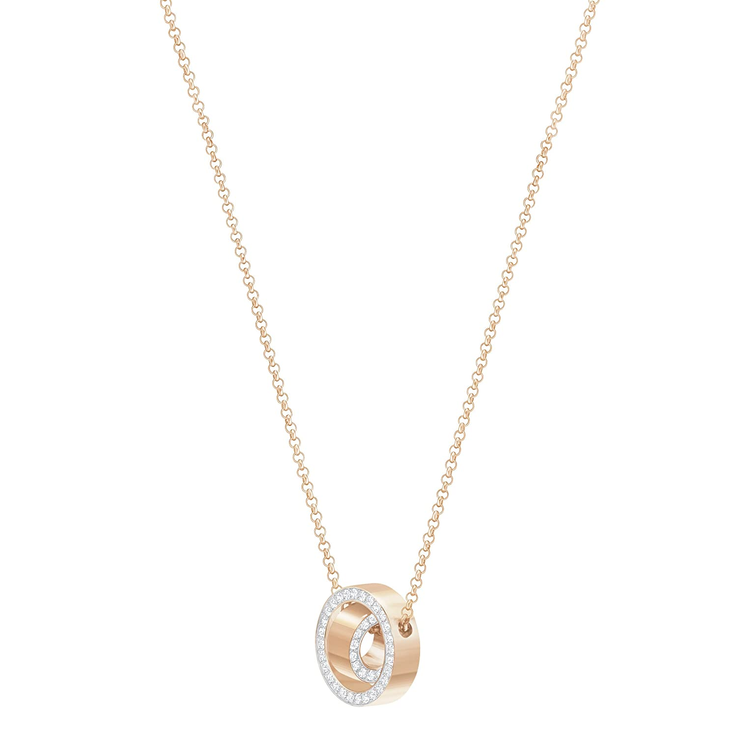 2e3b41f3a Amazon.com: Swarovski Crystal Small White Rose Gold-Plated Hollow Pendant  Necklace: Jewelry