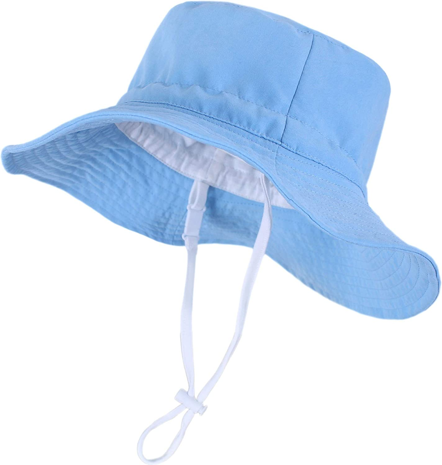 Toddler Sun-Hat Protection Wide-Brim Bucket Hats Adjustable Fit 0-4Years