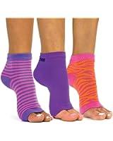 Freetoes Toeless Socks-3 Pairs-Purple,1-Pink/Purple Stripe,1-Pink Zebra